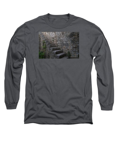 Medieval Wall Staircase Long Sleeve T-Shirt by Angelo DeVal