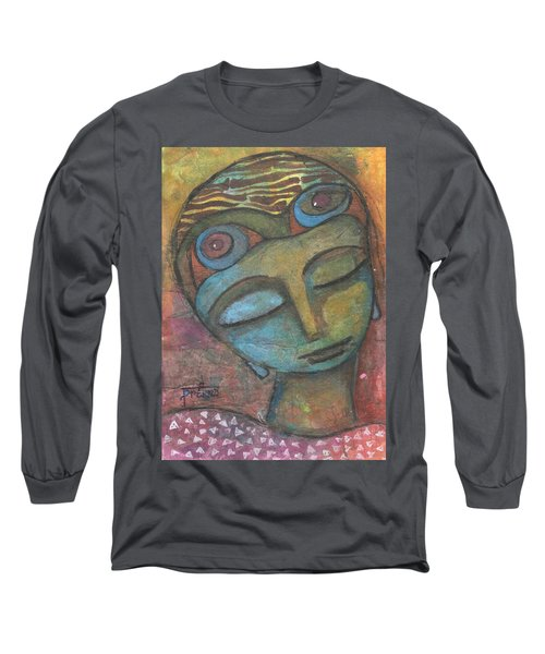 Long Sleeve T-Shirt featuring the mixed media Meditative Awareness by Prerna Poojara