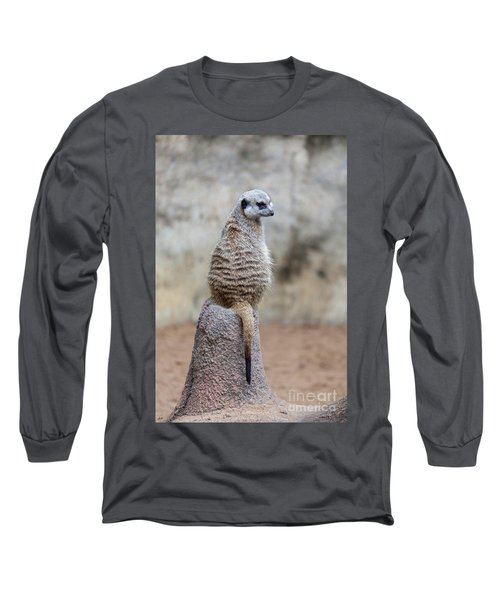 Meerkat Sitting And Looking Right Long Sleeve T-Shirt