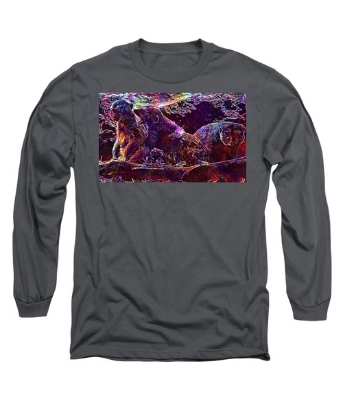 Long Sleeve T-Shirt featuring the digital art Meerkat Zoo Lazy Nature Animal  by PixBreak Art
