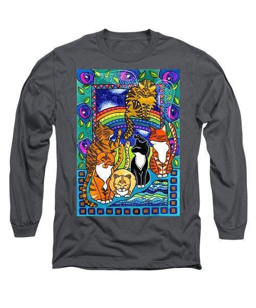 Meet Me At The Rainbow Bridge - Cat Painting Long Sleeve T-Shirt