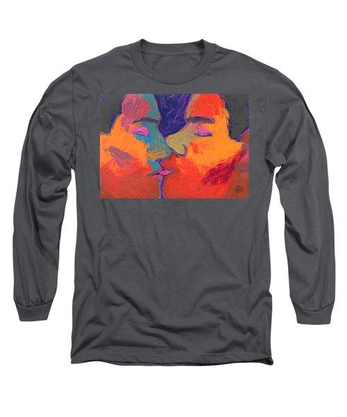 Men Kissing Colorful 2 Long Sleeve T-Shirt by Shungaboy X