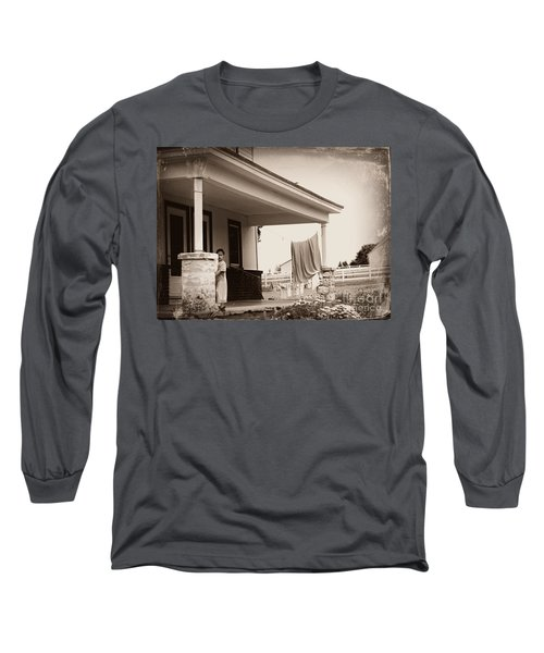 Mennonite Girl Hanging Laundry Long Sleeve T-Shirt