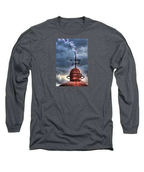 Menorca Copper Lighthouse Dome With Lightning Rod Under A Bluish And Stormy Sky And Lightning Effect Long Sleeve T-Shirt by Pedro Cardona