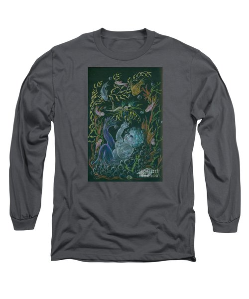Long Sleeve T-Shirt featuring the drawing Merbaby Blue by Dawn Fairies