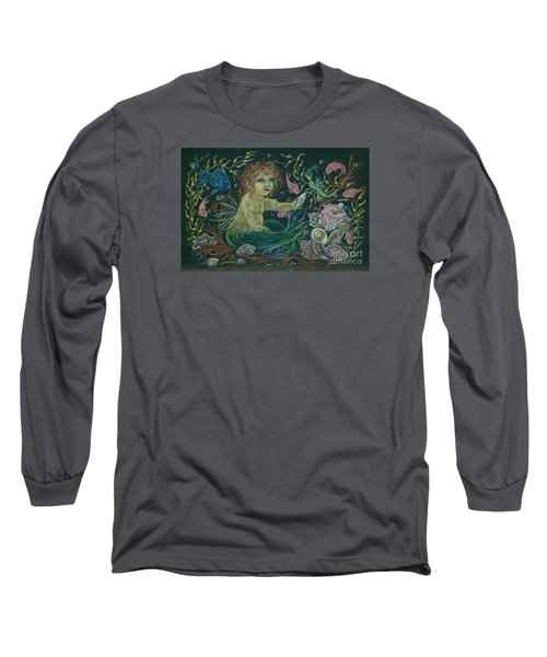 Long Sleeve T-Shirt featuring the drawing Merbaby Golden Green by Dawn Fairies