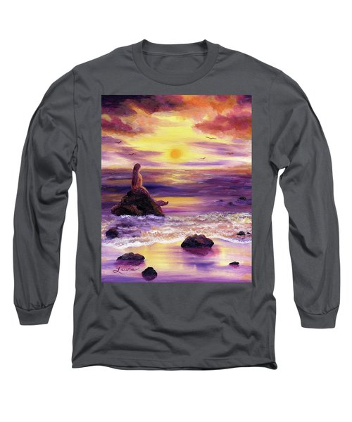 Mermaid In Purple Sunset Long Sleeve T-Shirt by Laura Iverson