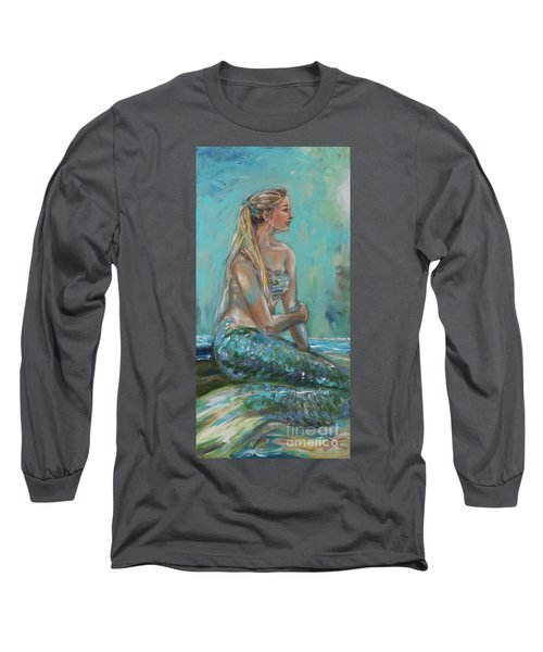 Mermaid Sunning On Shore Long Sleeve T-Shirt