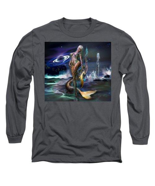 Mermaids Moon Light Long Sleeve T-Shirt by Glenn Feron