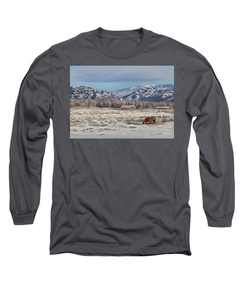 Merry Christmas From Wyoming Long Sleeve T-Shirt by Dawn Senior-Trask