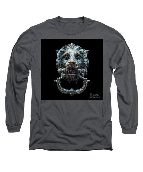 Long Sleeve T-Shirt featuring the photograph Metal Lion Head Doorknocker Isolated Black by Antony McAulay