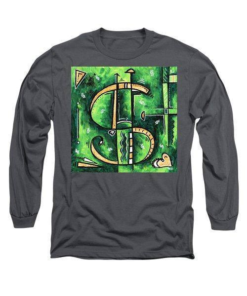 Metallic Gold Dollar Sign For The Love Of Money Mini Pop Art Painting Madart Long Sleeve T-Shirt