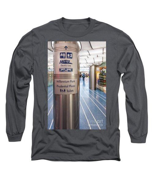 Metra Electric Line Column Sign Long Sleeve T-Shirt