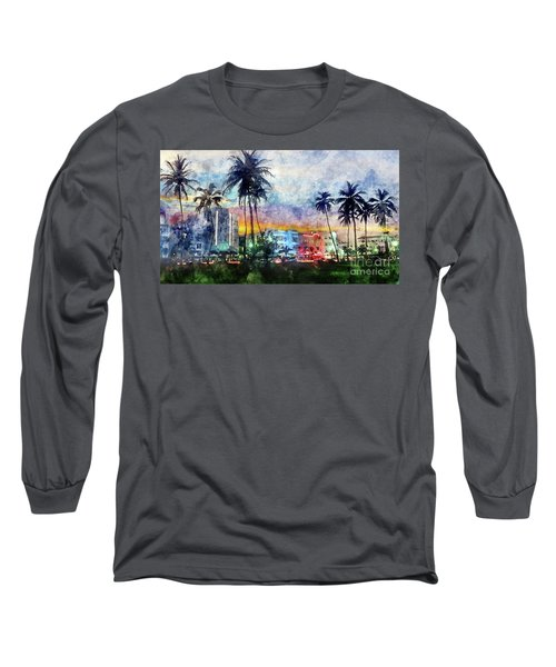 Miami Beach Watercolor Long Sleeve T-Shirt