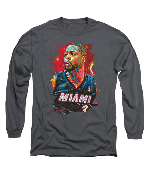 Miami Heat Legend Long Sleeve T-Shirt by Maria Arango