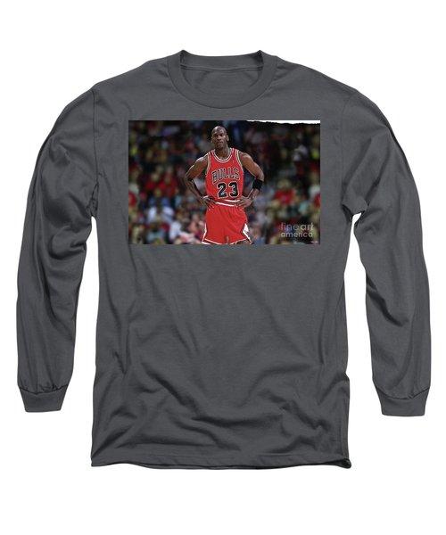 Michael Jordan, Number 23, Chicago Bulls Long Sleeve T-Shirt by Thomas Pollart