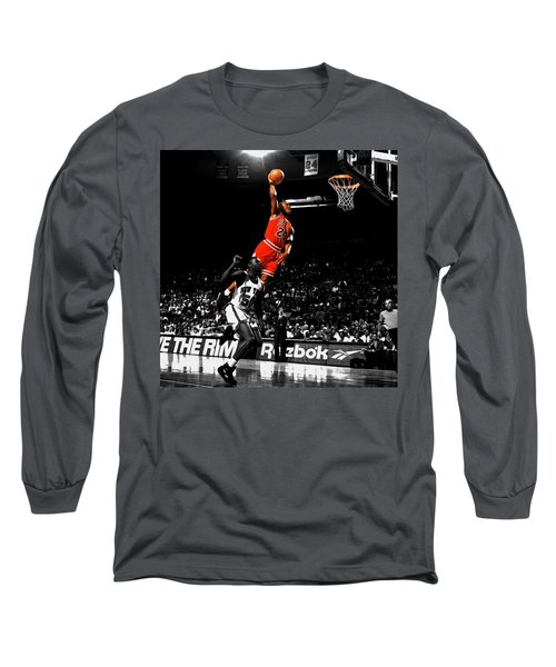 Michael Jordan Suspended In Air Long Sleeve T-Shirt by Brian Reaves