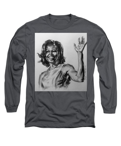 Long Sleeve T-Shirt featuring the painting  Michelle Obama  by Darryl Matthews