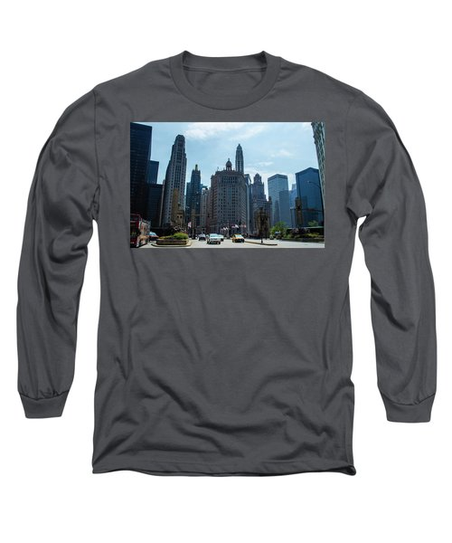 Long Sleeve T-Shirt featuring the photograph Michigan Avenue Bridge And Skyline Chicago by Deborah Smolinske