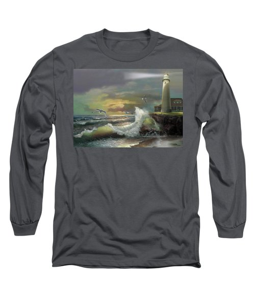 Michigan Seul Choix Point Lighthouse With An Angry Sea Long Sleeve T-Shirt