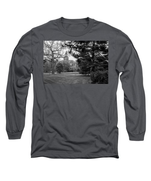 Michigan State University Campus Black And White  Long Sleeve T-Shirt by John McGraw