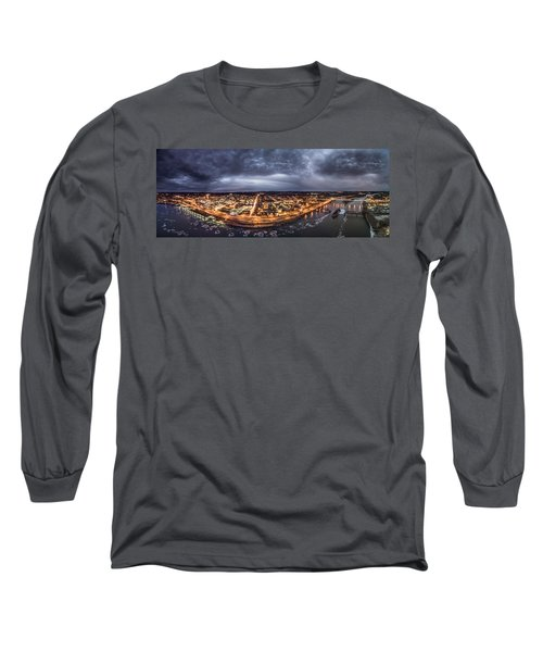 Middletown Connecticut, Twilight Panorama Long Sleeve T-Shirt by Petr Hejl