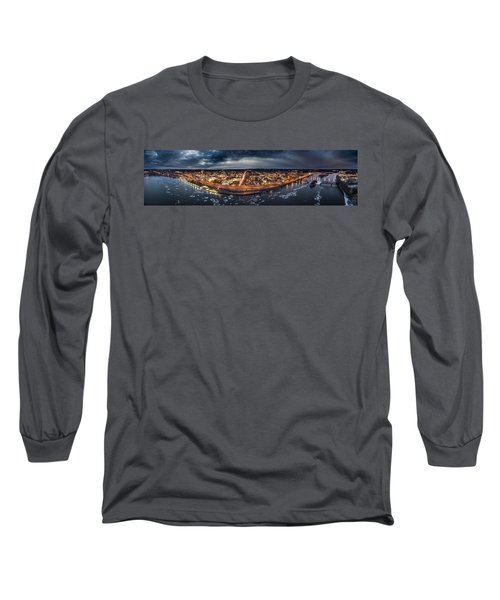 Middletown Ct, Twilight Panorama Long Sleeve T-Shirt
