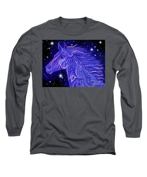 Long Sleeve T-Shirt featuring the drawing Midnight Blue Mustang by Nick Gustafson