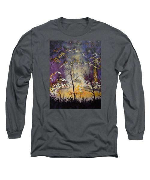Long Sleeve T-Shirt featuring the painting Midnight Campsite by Dan Whittemore