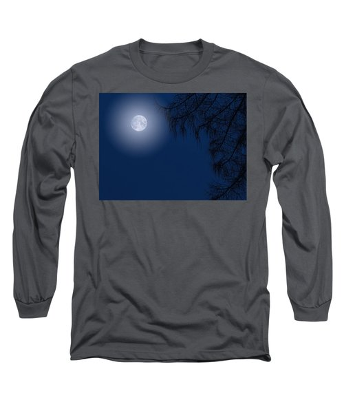 Midnight Moon And Night Tree Silhouette Long Sleeve T-Shirt