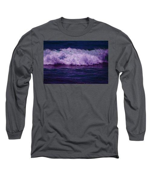 Midnight Ocean Wave In Ultra Violet Long Sleeve T-Shirt