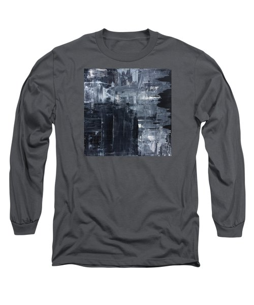 Midnight Shades Of Gray - 48x48 Huge Original Painting Art Abstract Artist Long Sleeve T-Shirt