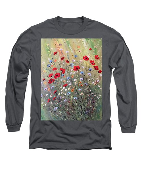 Midsummer Poppies Long Sleeve T-Shirt by Dorothy Maier