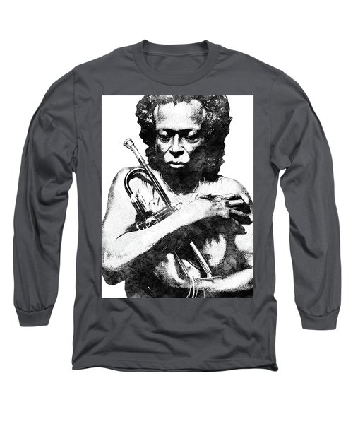 Miles Davis Bw  Long Sleeve T-Shirt by Mihaela Pater