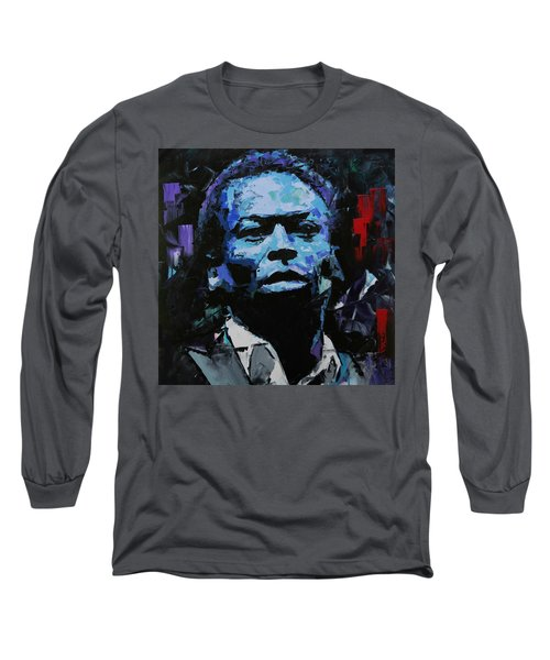 Long Sleeve T-Shirt featuring the painting Miles Davis by Richard Day