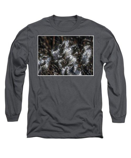Milkweed Plant Dried Seeds  Long Sleeve T-Shirt by John Brink