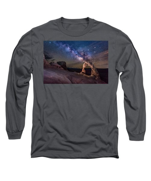 Milky Way And Delicate Arch Long Sleeve T-Shirt