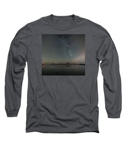 Milky Way And Northern Lights I Long Sleeve T-Shirt