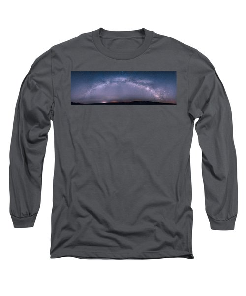 Milky Way Arch Over The Badlands Long Sleeve T-Shirt