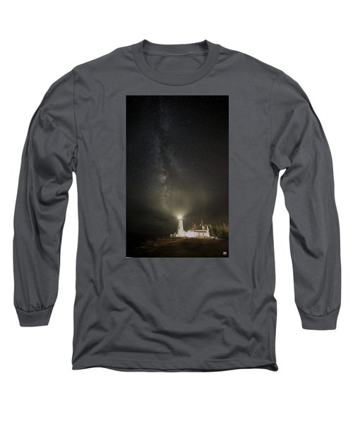 Milky Way At Pemaquid Light Long Sleeve T-Shirt
