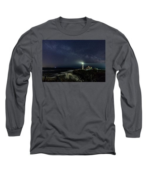 Milky Way At Portland Head Light Long Sleeve T-Shirt