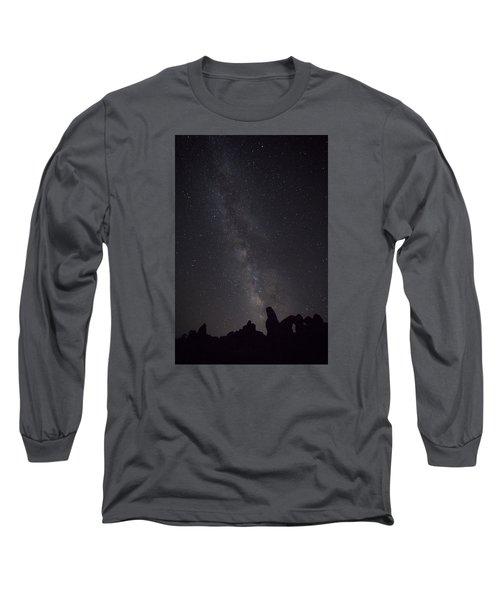 Milky Way Galaxy At Arches National Park Long Sleeve T-Shirt
