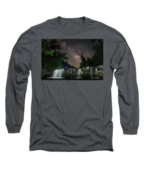 Milky Way Over Falling Waters Long Sleeve T-Shirt
