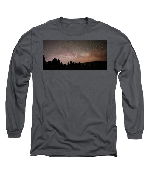 Milky Way Over Mammoth Hot Springs With Pink Glow From Aurora Borealis Long Sleeve T-Shirt