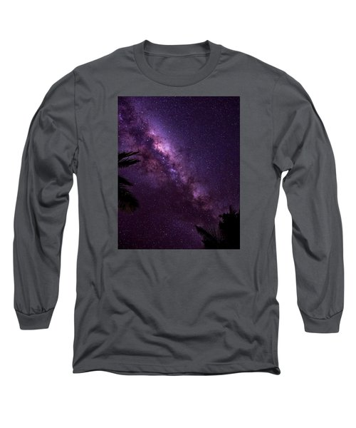 Milky Way Over Mission Beach Vertical Long Sleeve T-Shirt by Avian Resources