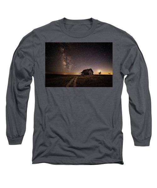 Milky Way Over Prairie House Long Sleeve T-Shirt by Kristal Kraft