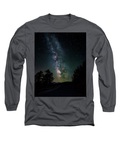 Milky Way Over Rocky Mountains Long Sleeve T-Shirt