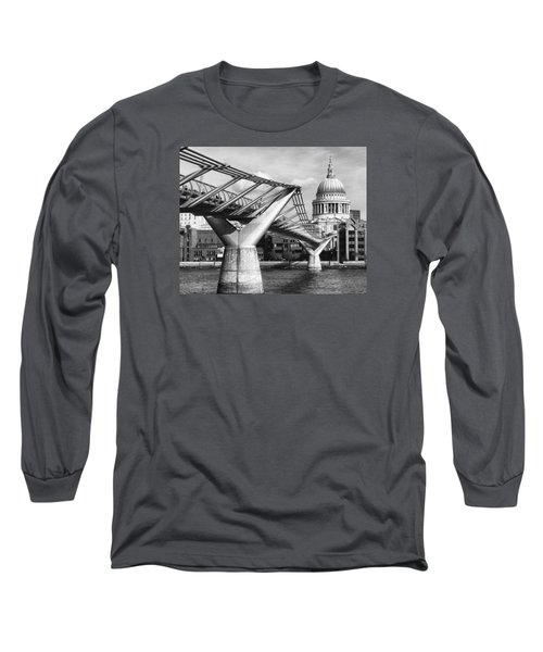 Millennium Footbridge Long Sleeve T-Shirt by Shirley Mitchell