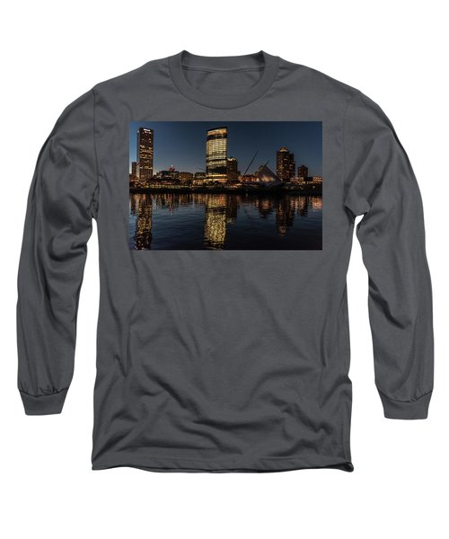 Long Sleeve T-Shirt featuring the photograph Milwaukee Reflections by Randy Scherkenbach