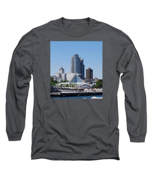 Long Sleeve T-Shirt featuring the photograph Milwaukee, Wi Shoreline by Ramona Whiteaker